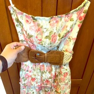 Strapless floral summer dress with belt